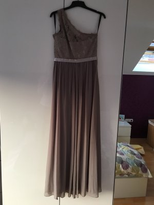 Laona One-Shoulder- Abendkleid mit floralen Stickereien – Taupe