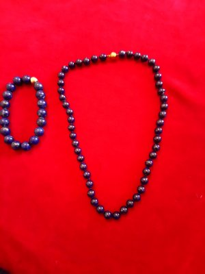 Pearl Necklace dark blue real gold