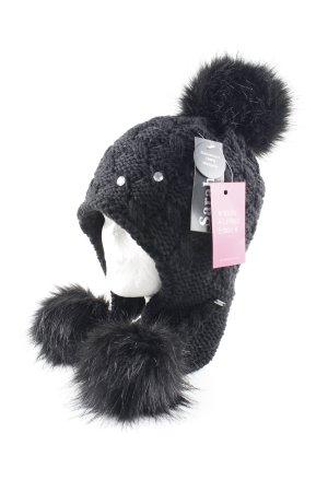 Bonnet cache-oreilles noir Motif de tissage style décontracté