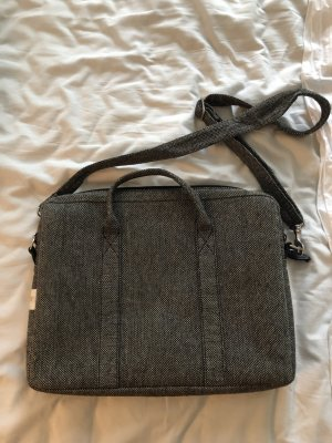 Laptop bag black-silver-colored wool