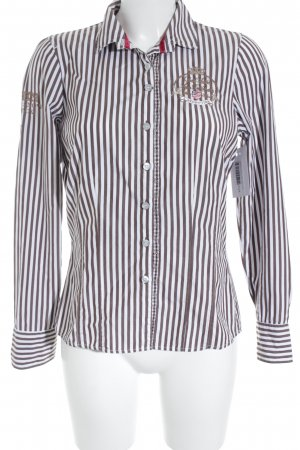 Largentina Langarmhemd braun-weiß Streifenmuster Business-Look