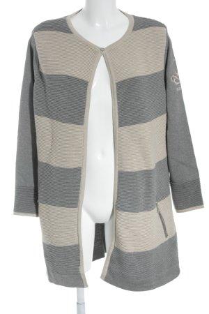 Largentina Strickjacke beige-grau Streifenmuster Casual-Look