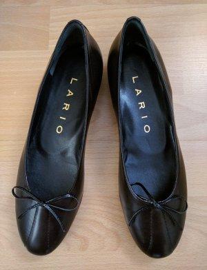 Lario Lakleren ballerina's zwart Leer