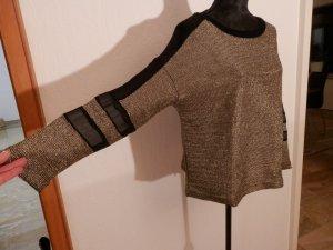 Larp Gothic Netz Fashion Blogger Shirt Kettenhemd Style Metallic Gold Pullover