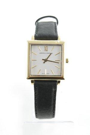 Larsson & Jennings Horloge met lederen riempje zwart-goud elegant