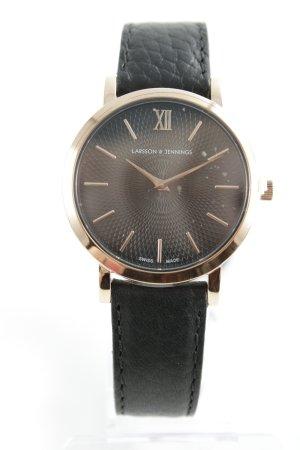 Larsson & Jennings Horloge met lederen riempje zwart-roségoud elegant