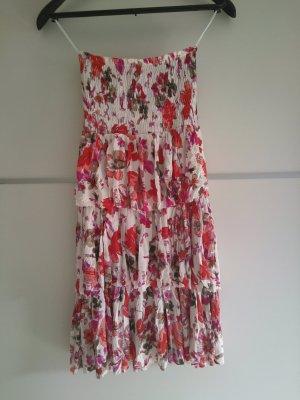 Lascana Blumenkleid Bandeaukleid Rüschenkleid
