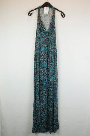 Lascana Kleid Maxikleid Gr. 34 braun blau Ornamente Metall Details ethno boho