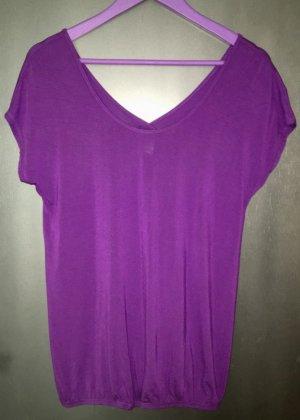 Lascana T-shirt col en V violet