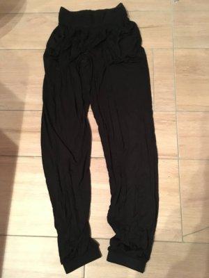 Lascana Strandhose schwarzer Stoff mit Häkelbund Größe 36