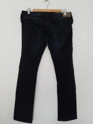 Herrlicher Jeans taille basse noir coton