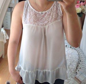 LAST PRICE: Weiße Hollister Bluse mit Blumen Spitze, Größe L