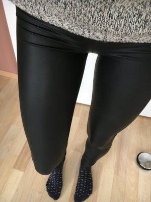 Latex-Leder-Look Leggings in schimmerndem schwarz