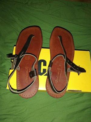 Toe-Post sandals cognac-coloured-black brown leather