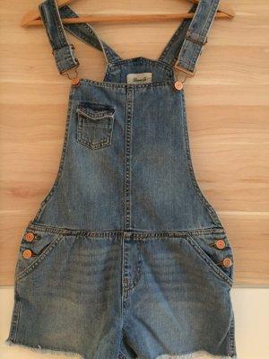 H&M Pantalón corto tipo peto azul-azul claro