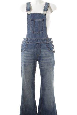 Jeans met bovenstuk staalblauw straat-mode uitstraling