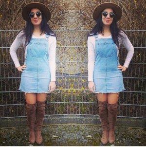 Latzkleid Kleid Jeans Latzhose Latzkleid blau blogger hipster boho XS