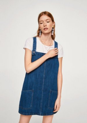 Mango Pinafore Overall Skirt blue