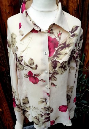 Laura Ashley Bluse Blumen 100% Seide Vintage Rarität Original Gr. 36 - 42 S - L
