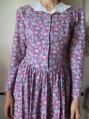 Laura Ashley Kleid Vintage Spitze Bubikragen 80er 90er flower floral Blumen Muster Print Midikleid