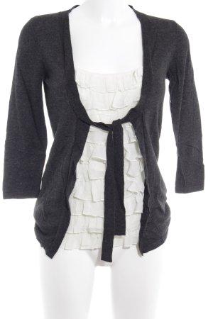 Laura Ashley Langarm-Bluse grau-weiß Casual-Look