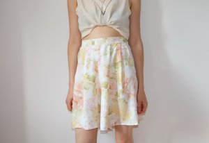 laura biagiotti designer blumenprint high waisted sommer shorts weites bein plissee S 36