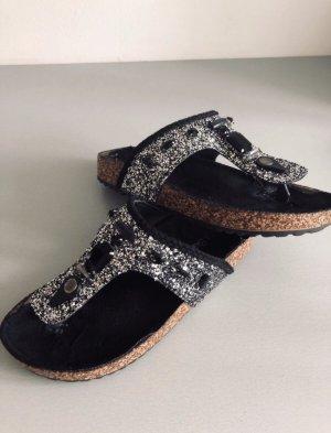 Laura biagiotti Toe-Post sandals black-silver-colored