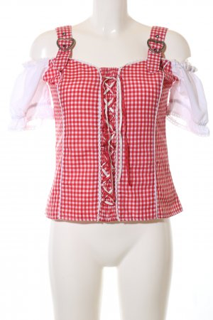 Laura di Sarpi Traditional Blouse red-white check pattern business style