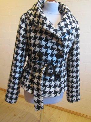 LAURA DI SCARPI: Vintage-Kurzjacke mit Gürtel, creme-schwarz, Gr. 40