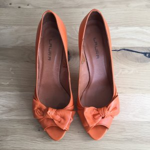 Laura Görtz Peeptoes Pumps Orange mit Schleife Gr. 39 NP 89,95Euro