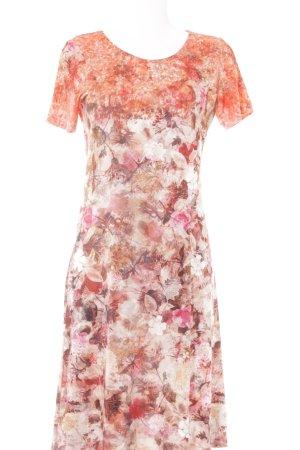 Laura Kent Jerseykleid hellrot-altrosa Blumenmuster klassischer Stil
