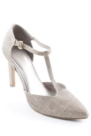 Laura Lenti Zapatos de tacón con barra en T color oro brillante
