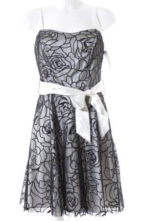 Laura Scott Abendkleid schwarz-weiß Blumenmuster Elegant