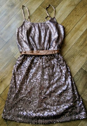 Laura Scott Bronze Pailletten Minikleid * Neu