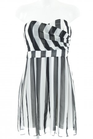Laura Scott Corsage Dress white-black striped pattern '80s style