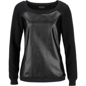 LAURA SCOTT Damen Pullover schwarz Lederimitat GR.34 Neu