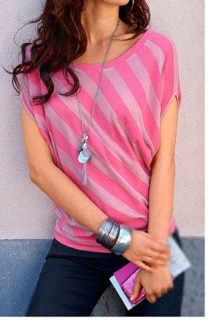 LAURA SCOTT Damen Shirt T-Shirt Top Bluse rosa gestreift Flügelärmel Gr. 36 / 38