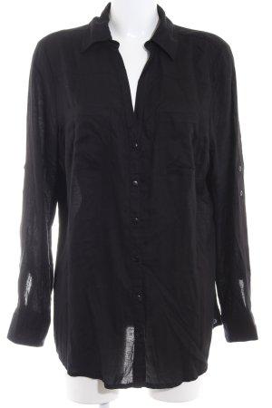Laura Scott Blusa-camisa negro estilo sencillo