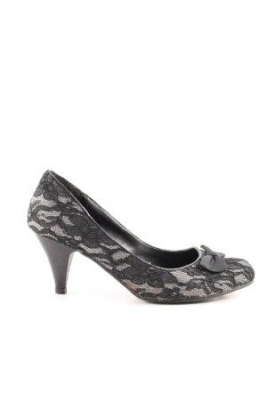 Laura Scott High Heels schwarz-weiß Blumenmuster Elegant