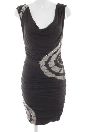 Laura Scott Jerseykleid hellbeige-schwarzbraun Batikmuster 90ies-Stil