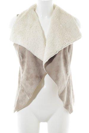 Laura Scott Smanicato in ecopelliccia beige-crema stile casual