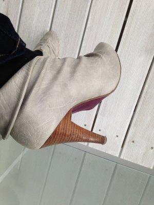 LAURA SCOTT Plateau-Stiefeletten,  High Heels, grau-meliert, 10 cm holzfarbener hoher Absatz