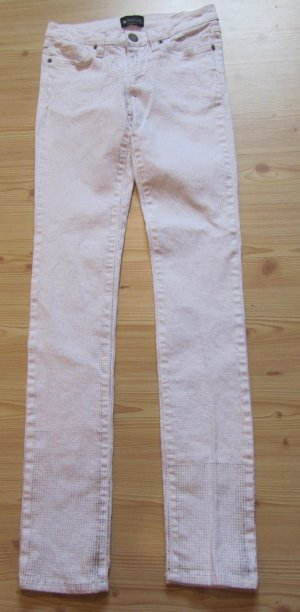 LAURA SCOTT: Schmale Jeans mit silbernen Glitzerpunkten, Gr. 32