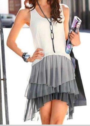 Laura Scott Robe chiffon blanc-argenté