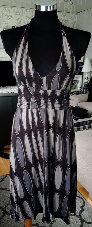 Laura Scott Sommerkleid Neckholder Kleid mit allover Print Knielang XS Grau