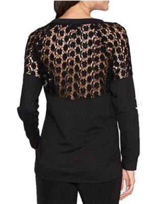 Laura Scott Spitzen Bluse Oberteil Top Sweatshirt Neu Gr.34 Schwarz