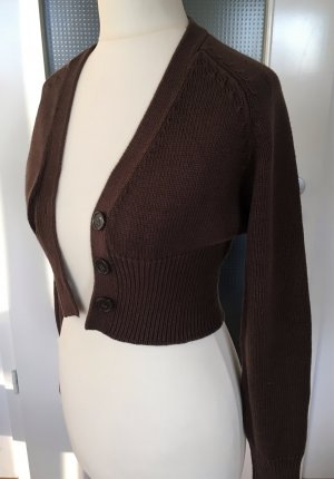 Laura Scott Strickjacke Bolero XXS XS 32 34 Braun Cropped Cardigan