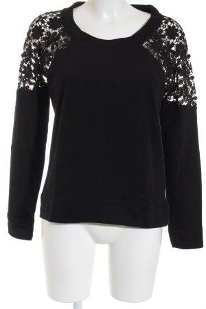 Laura Scott Sweatshirt schwarz Spitzen-Optik