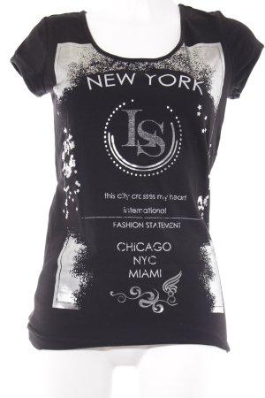 Laura Scott Camiseta negro-color plata estampado en partes look casual