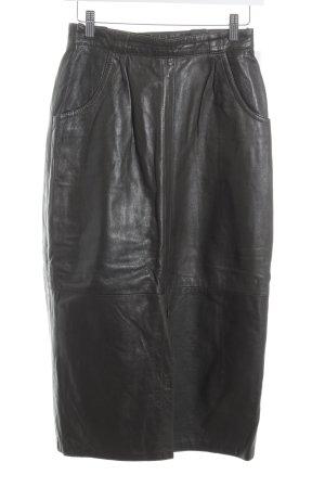 Laura Torelli Leather Skirt grey brown elegant